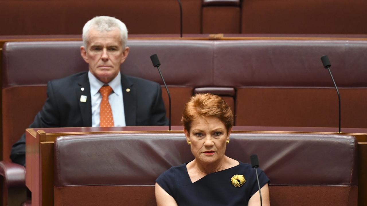 One Nation Senator Pauline Hanson and Senator Malcolm Roberts.