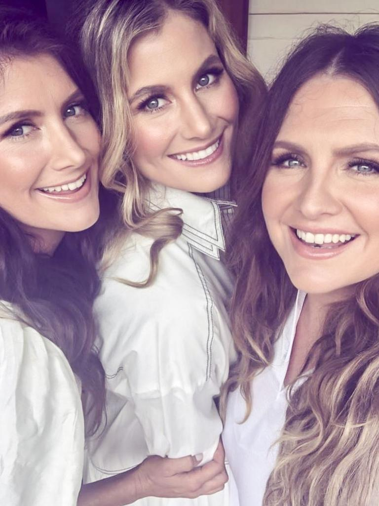 The McClymont sisters Mollie, Samantha and Brooke in an Instagram post from on set filming the video clip for the first single