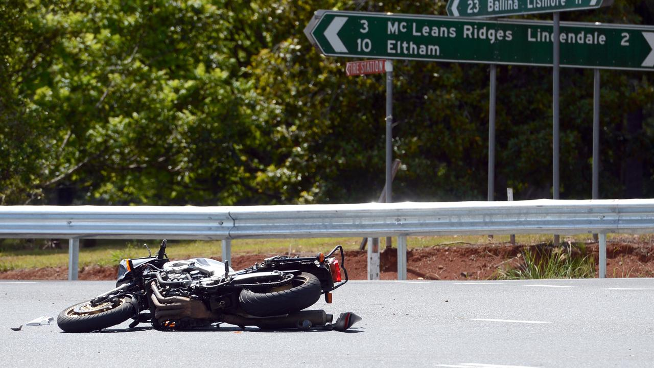 SERIOUS:A motorcycle and truck collided at the intersection of the Bruxner Highway, Cowlong and Alphadale Roads at Alphadale in 2013.Photo Cathy Adams / The Northern Star