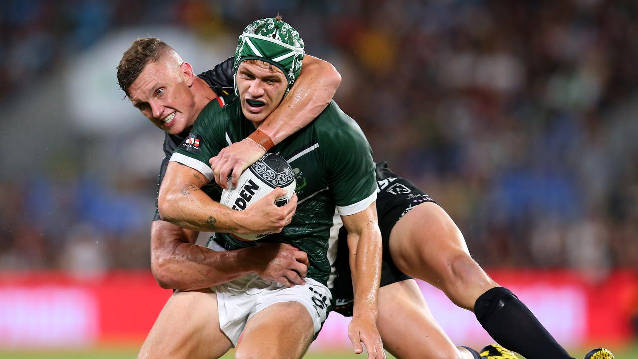Indigenous All-Star Jack Wighton tackles Kalyn Ponga of the Maori All-Stars at the Gold Coast's Cbus Super Stadium on February 22. Picture: Jason McCawley/Getty Images