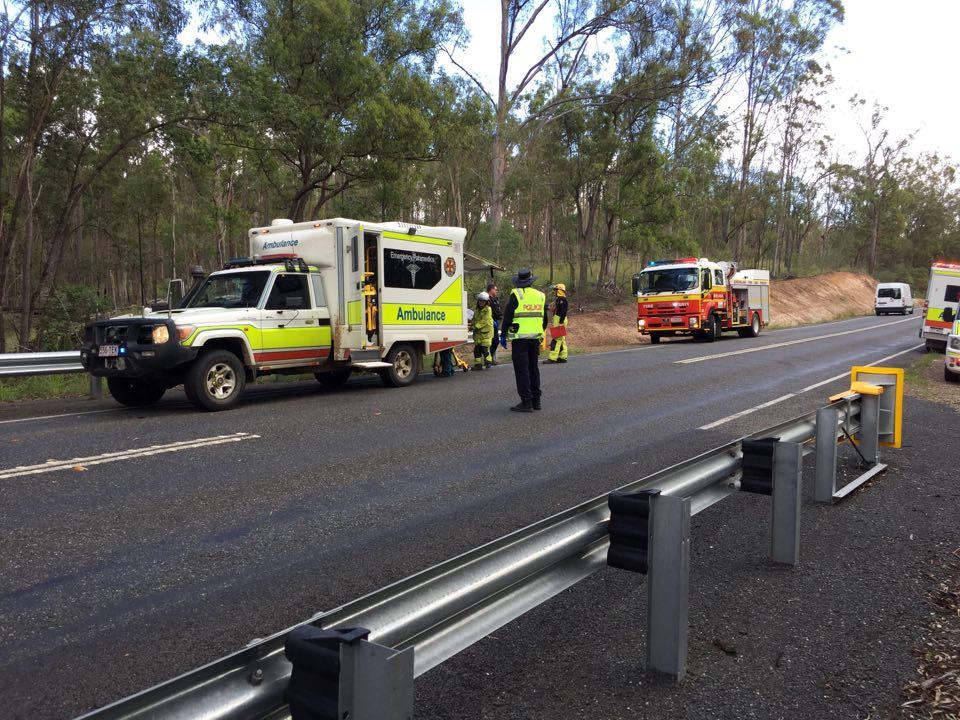 The scene of the crash on Bundaberg Gin Gin Road.