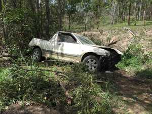 Car ends up in embankment after crash