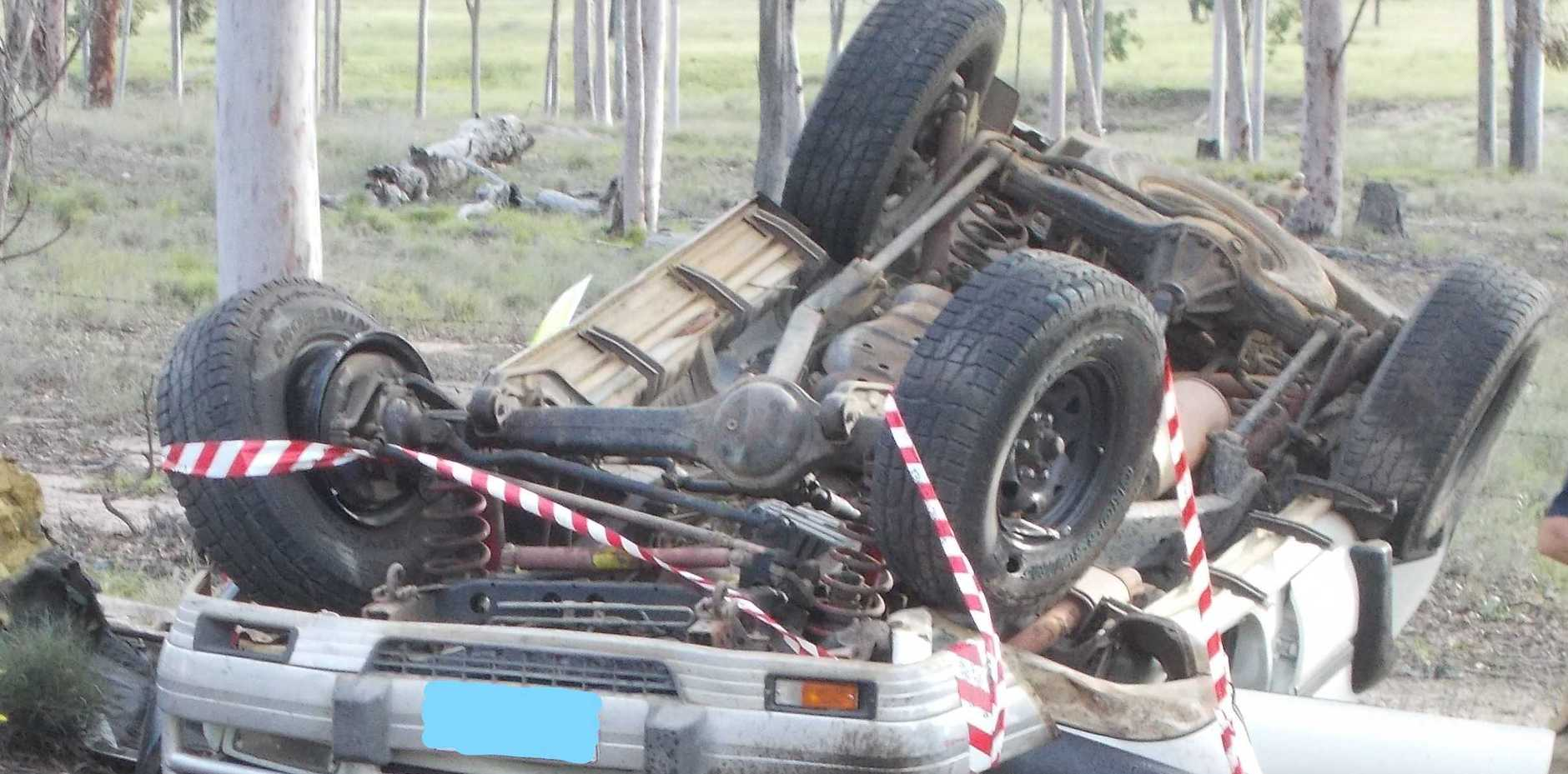 The scene of a single vehicle rollover five kilometres outside Eidsvold on March 11.