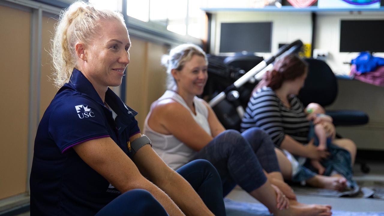 YOGA: Sunshine Coast Lightning player Laura Langman enjoying the mums and bubs yoga class.