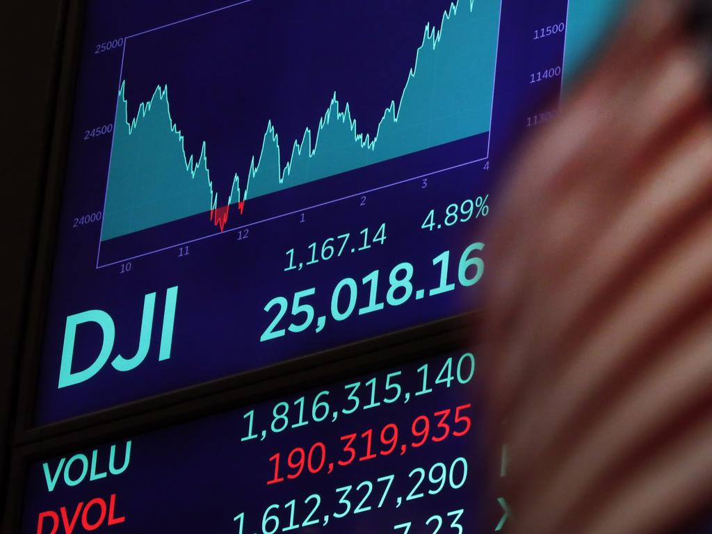 The Dow Jones fell four per cent. Picture: AP