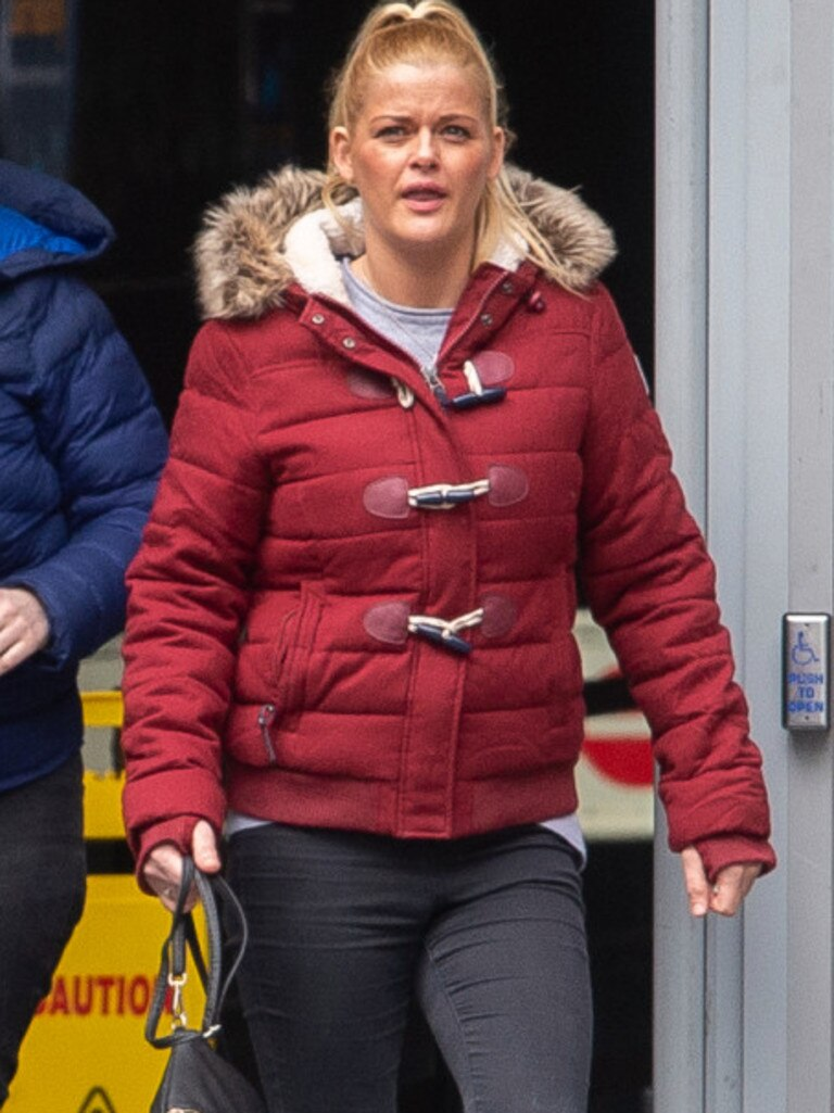 Gemma Heap leaves Manchester Magistrates Court.