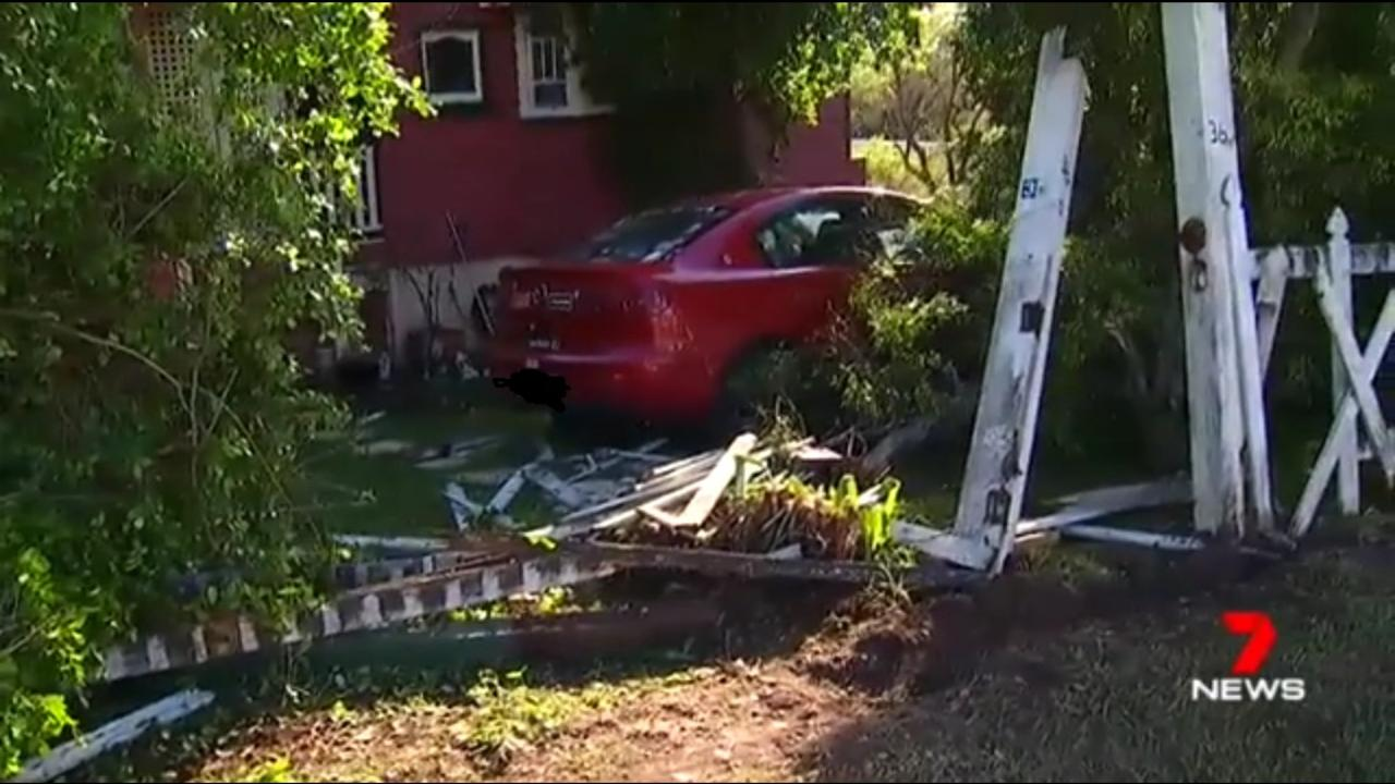 Gympie resident Nikki Betts was left in shock after a ute ploughed through her fence and into her yard.