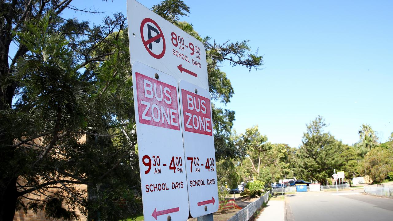 Parents at Woolooware High School in the Shire have copped 100 fines in a week for dropping kids off in bus zones. Picture: Toby Zerna