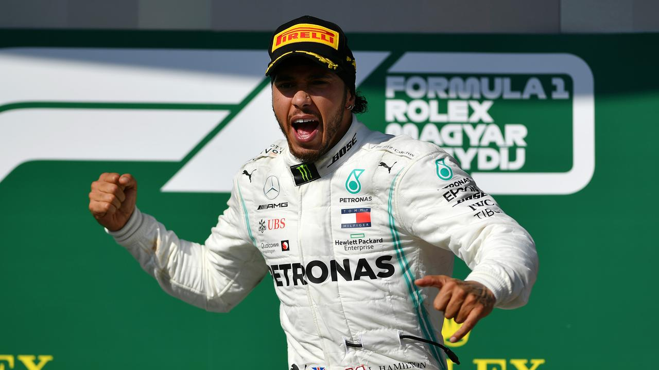 Lewis Hamilton celebrates on the podium after winning last year's Grand Prix of Hungary. Picture: Dan Mullan/Getty Images