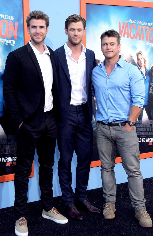 Brothers Liam Hemsworth, Chris Hemsworth and Luke Hemsworth arrive at the premiere 'Vacation' in California. Photo: Barry King/Getty Images