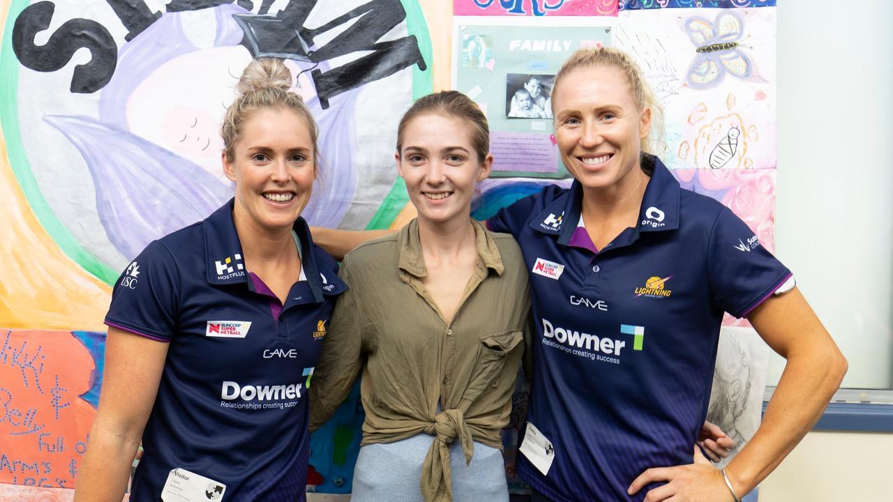 INSPIRED: STEMM Burnside State High School student Danielle Catlin with Sunshine Coast Lightning players Laura Scherian (left) and Laura Langman.