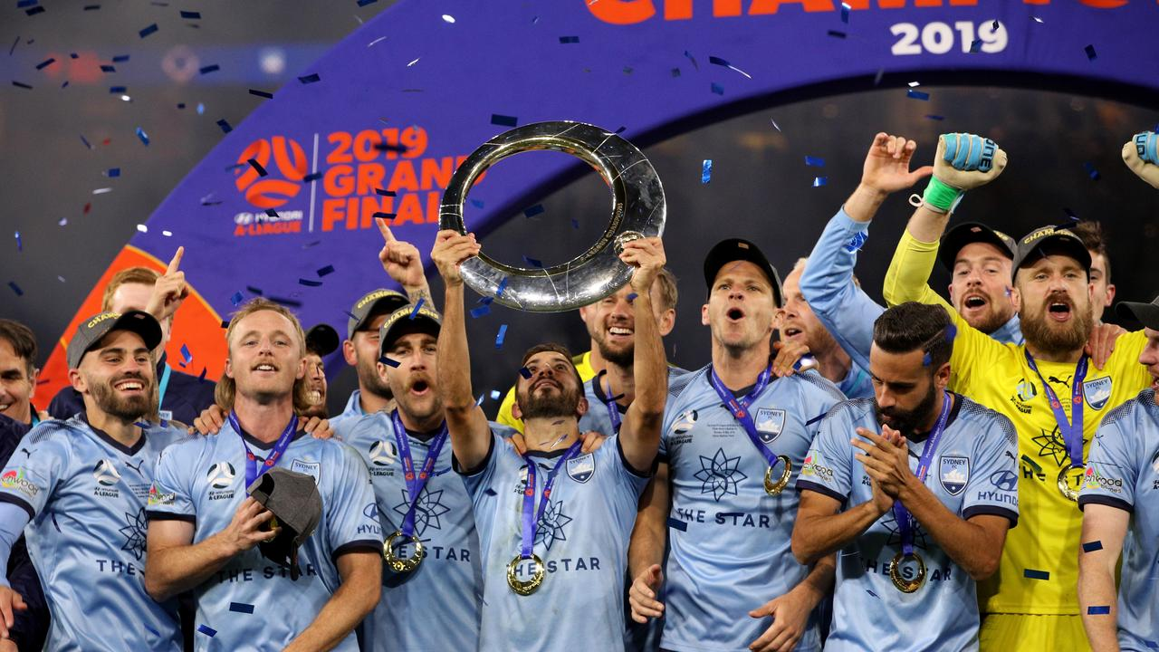 Sydney FC players celebrate after beating the Glory in last year's A-League grand final in Perth. Picture: AAP