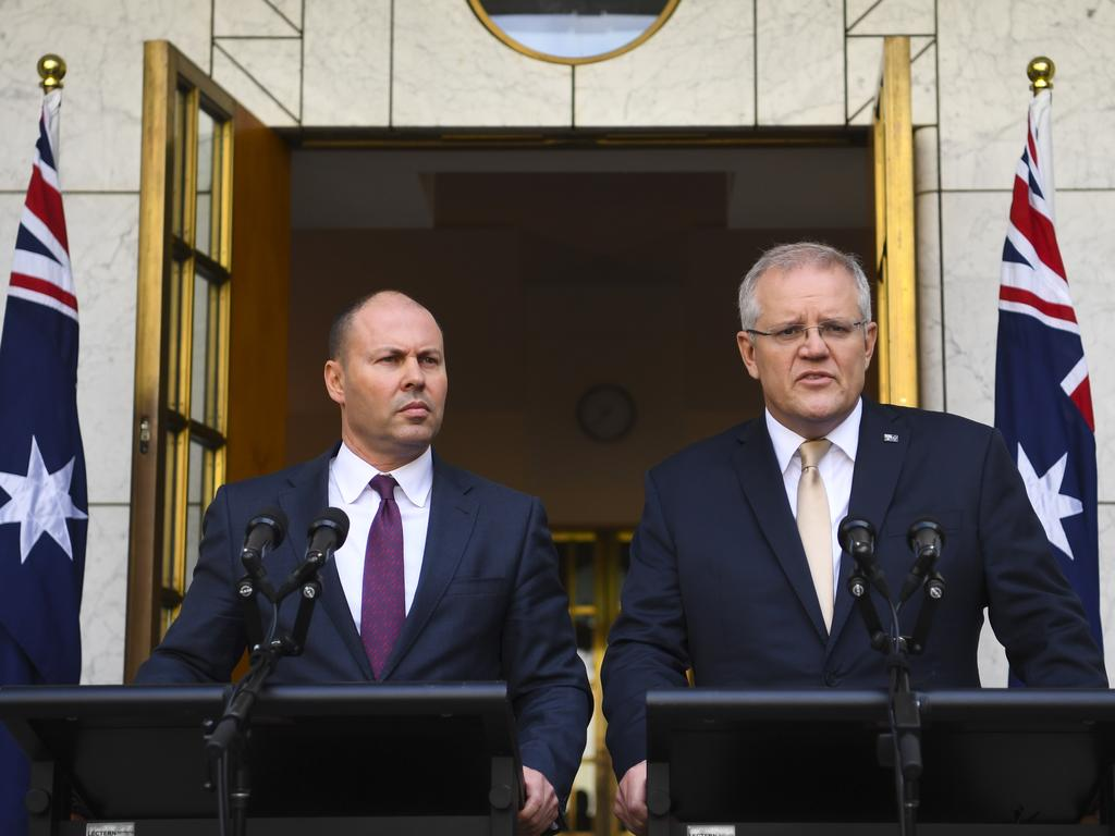 Treasurer Josh Frydenberg and Prime Minister Scott Morrison. Picture: AAP