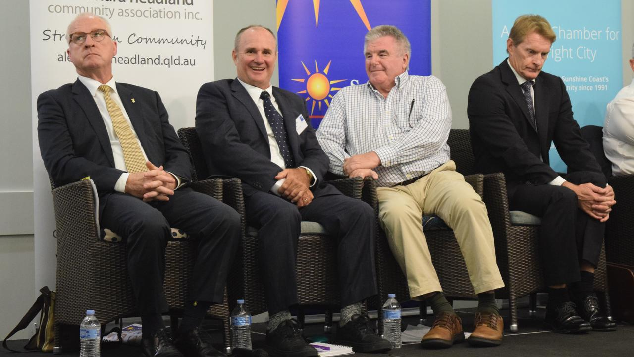 Sunshine Coast Mayor Mark Jamieson was under attack from candidates Don Innes and Michael Burgess while fellow challenger Chris Thompson stuck to what he would deliver during the Sunshine Coast Daily election forum in Maroochydore.