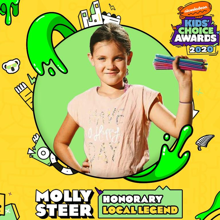 Molly Steer of Cairns, 12, founder of Straw No More joins NZ Prime Minister Jacinda Ardern and Australian comedian Celeste Barber as one of five Australian and New Zealand recipients of an Honorary Local Legend Award in the 2020 Nickelodeon Kids' Choice Awards.
