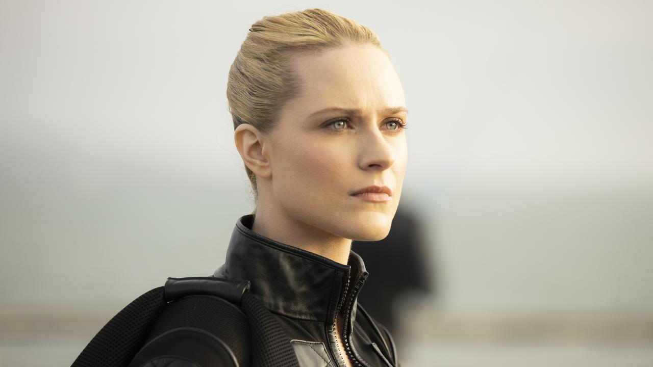Evan Rachel Wood's new futuristic look as Dolores in a scene from season three of Westworld. Supplied by Foxtel