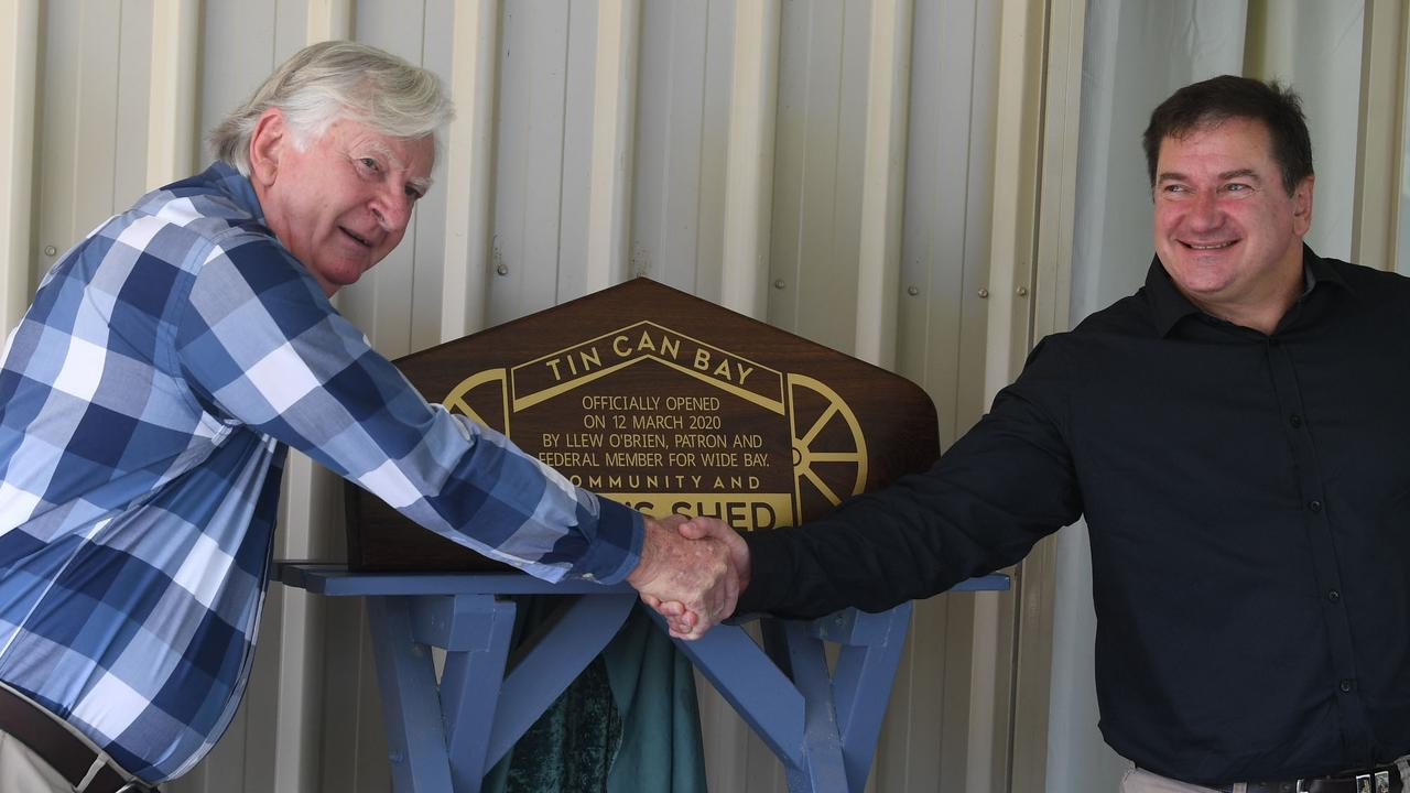 Tin Can Bay Men's Shed opening - Men's Shed President Graham Langdown and Member for Wide Bay Llew O'Brien. Picture: Shane Zahner