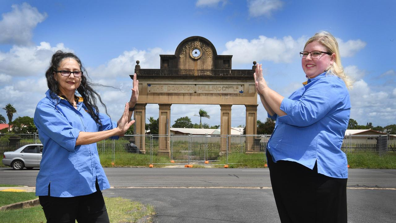 Arch de Triomphe – Tina Souvlis and Claire Preston won their fight to preserve the flour mill archway. Photo: Cody Fox