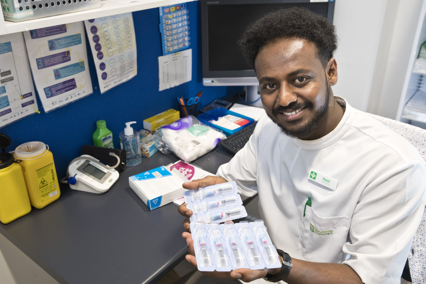 TerryWhite Chemmart Grand Central pharmacist manager Hawi Asfha, holding the Afluria Quad 2020 flu vaccine, is concerned this year will bring another prolonged and serious flu season, Thursday, March 12, 2020. Picture: Kevin Farmer