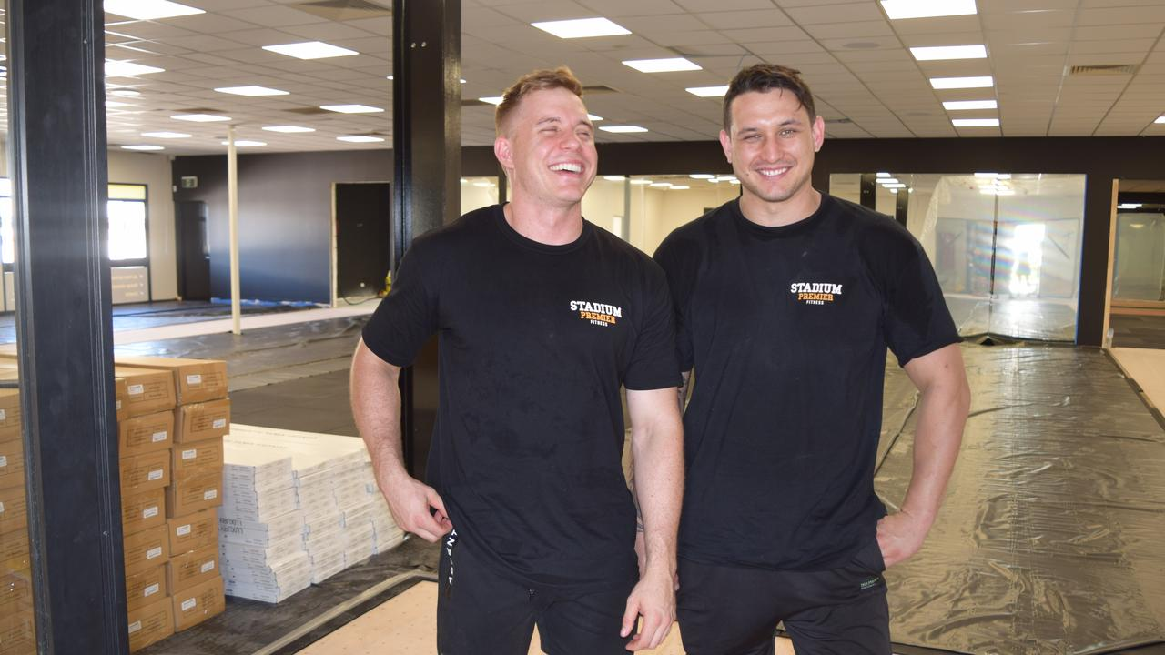 Stadium Premier Fitness owners Travis Stolk and Whetu Austin are working hard to finish the interior ahead of the opening on March 21.