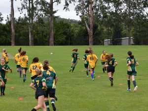 Dames of Dunoon kicking goals during Female Football Week