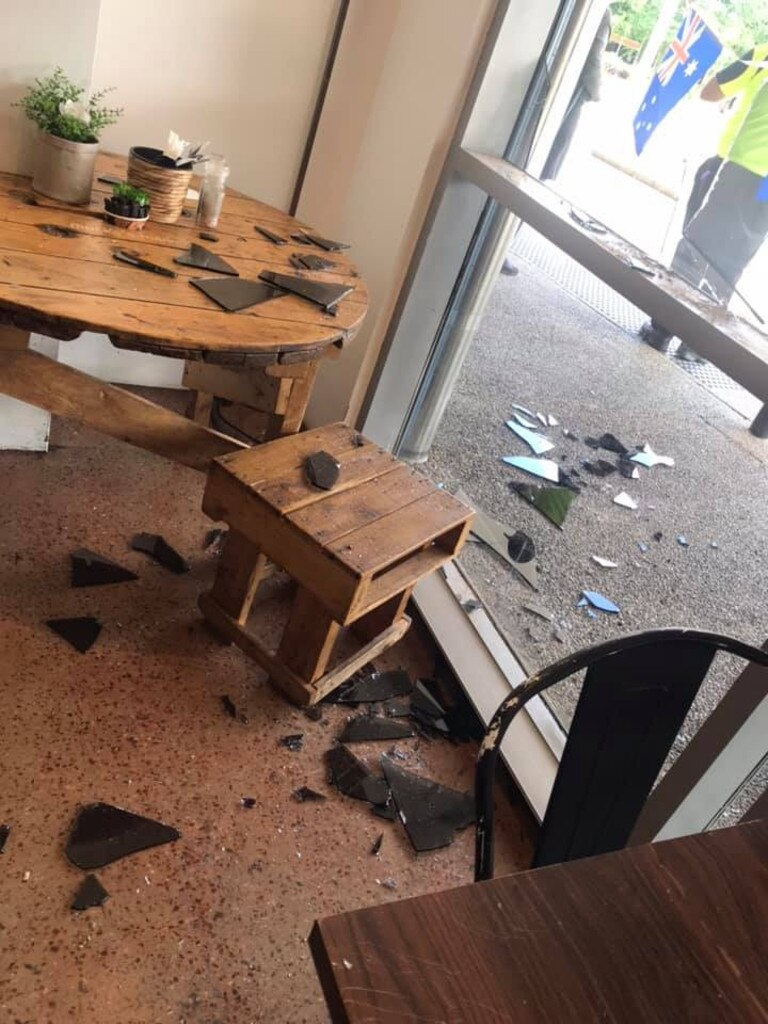 The damage at Mosko's Market after a day time rampage allegedly led by four youths. Picture: Facebook