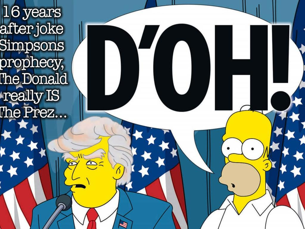The Sun shows the election of Donald Trump which was a Simpsons joke until it happened. Picture: Supplied