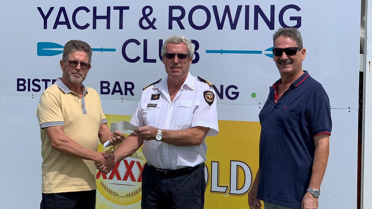 Thanks for the $5000 lift as Grenville Snowdon the Noosa Yacht & Rowing Club Commodore hands over funds to Ian Hutchings, the Coast Guard Noosa Flotilla Commander with John Tidy, the club treasurer.