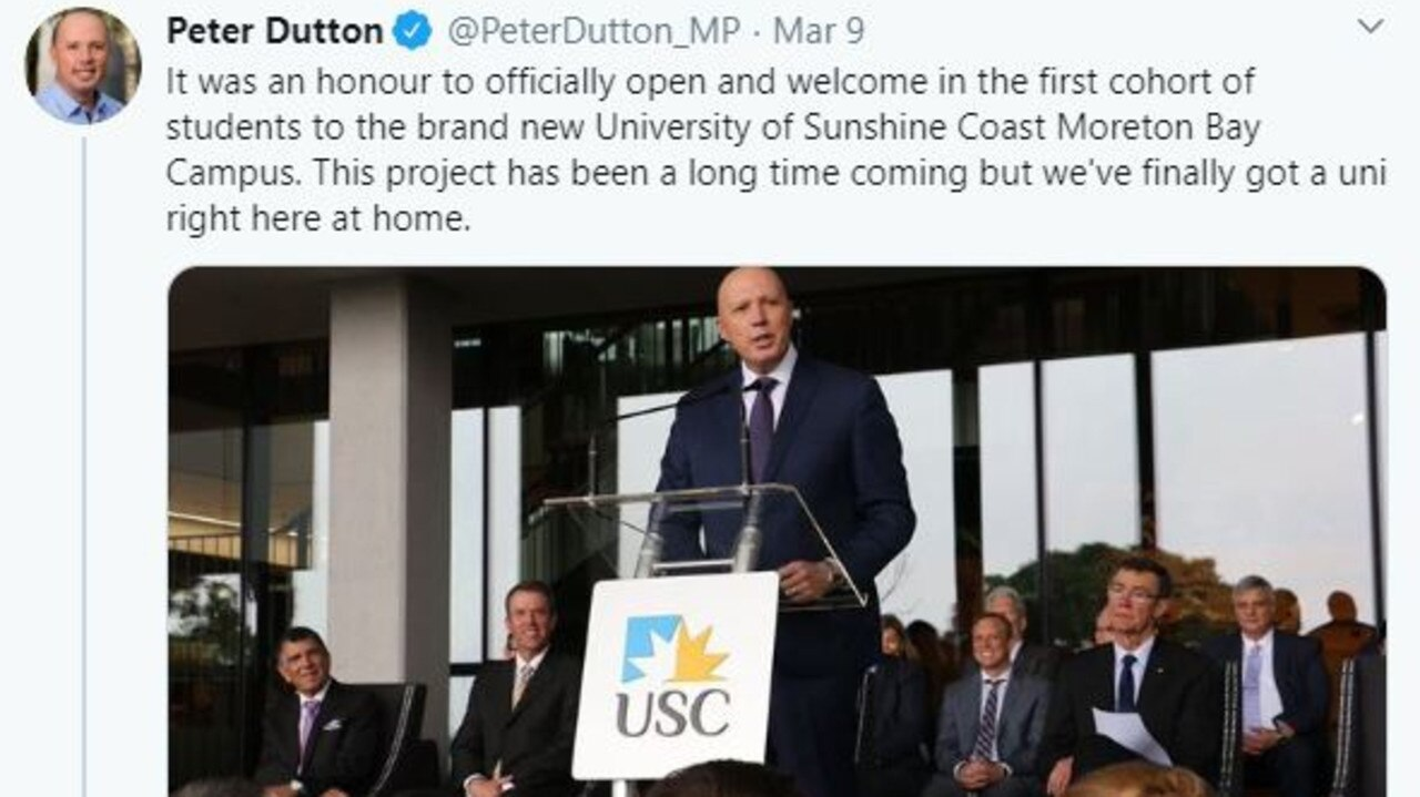 SICK: Peter Dutton opened the USC Moreton Bay campus at Petrie on Monday, and was confirmed with coronavirus on Friday.