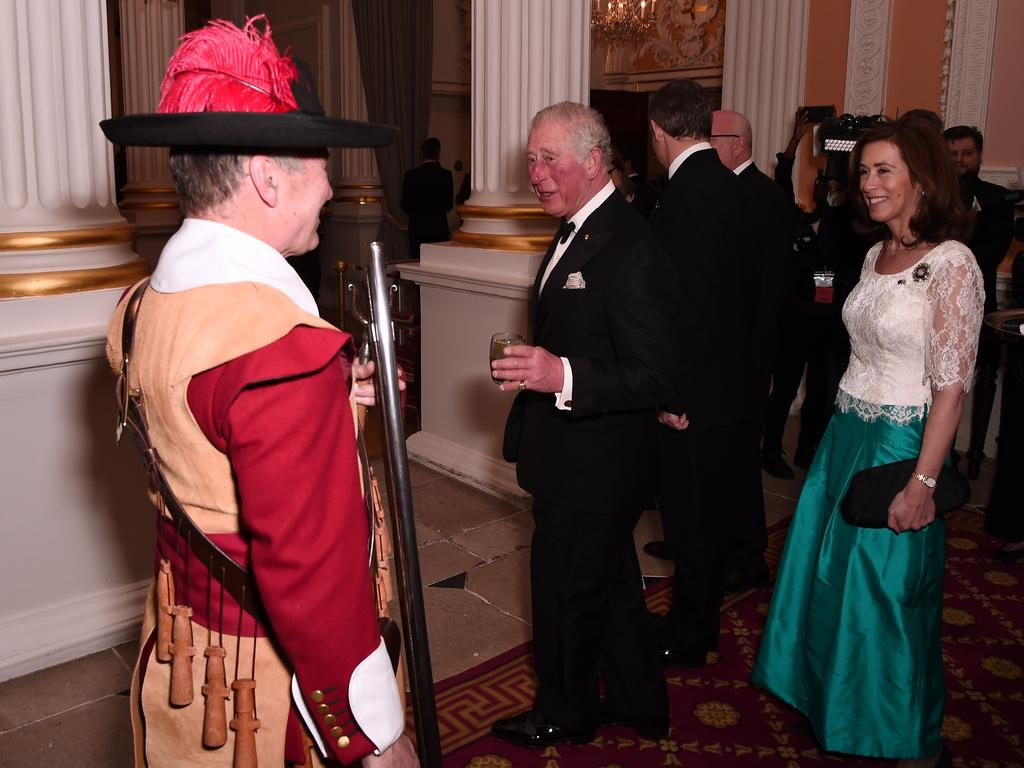 Prince Charles, Prince of Wales (C) Hilary Russell as they attend a dinner in aid of the Australian bushfire relief and recovery effort at Mansion House. Picture: Getty