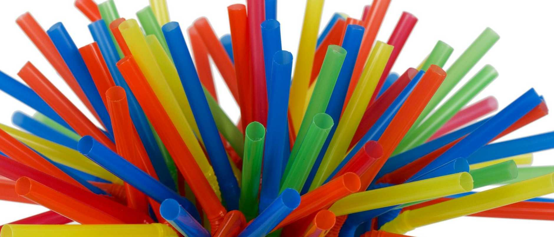 Tight grouping of colorful straws