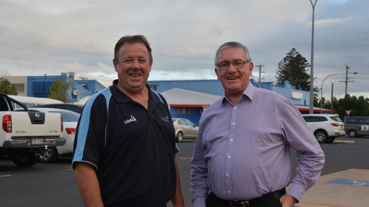 Cr Gavin Jones with current Mayor Keith Campbell. Photo: Matt Collins