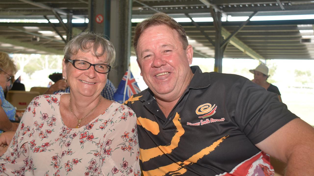 COMMUNITY MAN: Robyn Schloss with unopposed councillor Gavin Jones at the 2020 Nanango Australia Day celebrations. Photo: Jessica McGrath