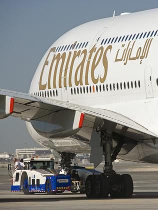 An Emirates Airbus A380 superjumbo aircraft.