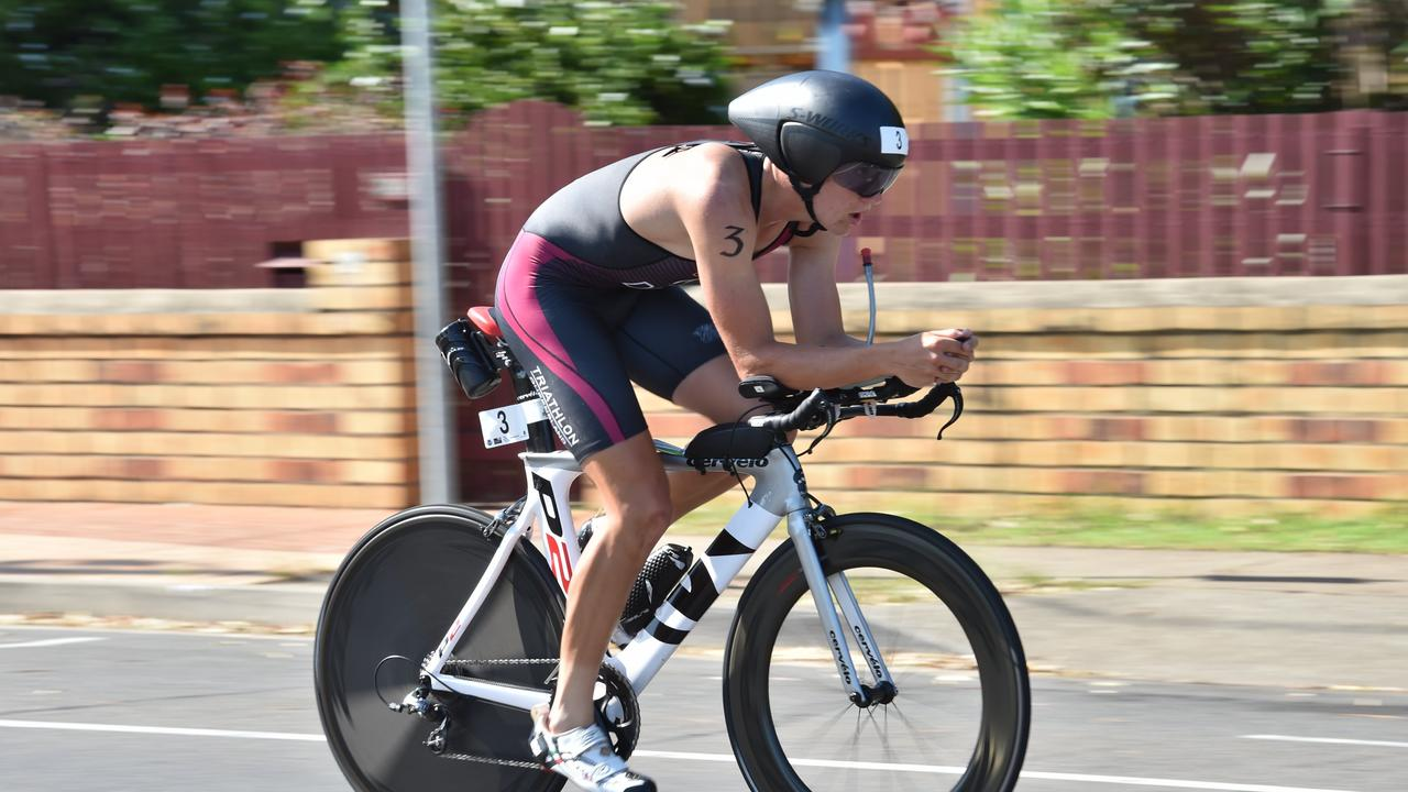 Disc wheels, like this one being used by Tayte Dixon on the rear, have been banned from Mooloolaba Triathlon.