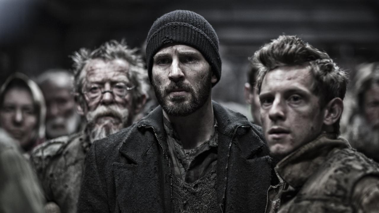 John Hurt, Chris Evans and Jamie Bell in Snowpiercer.