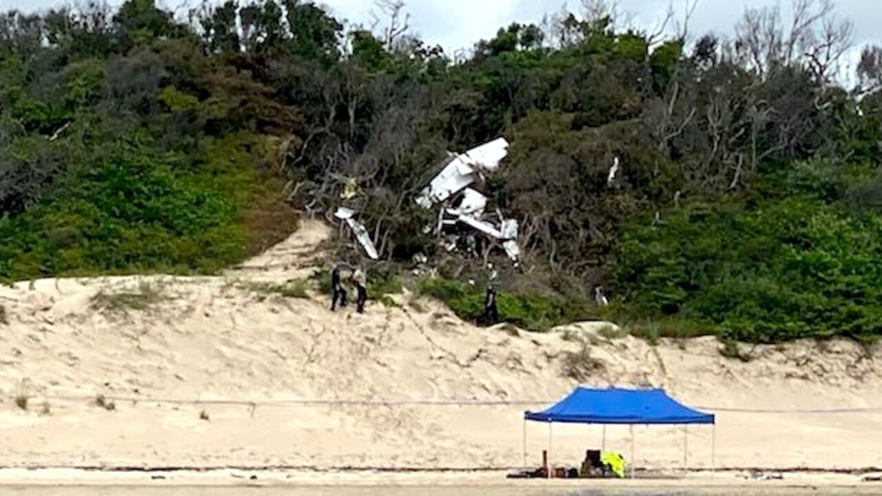 The wreckage of the Aerohire Pty Ltd Cessna 404 Titan that crashed while attempting to land at the Lockhart River Airport, the pilot and four passengers were killed. Picture: Ten News