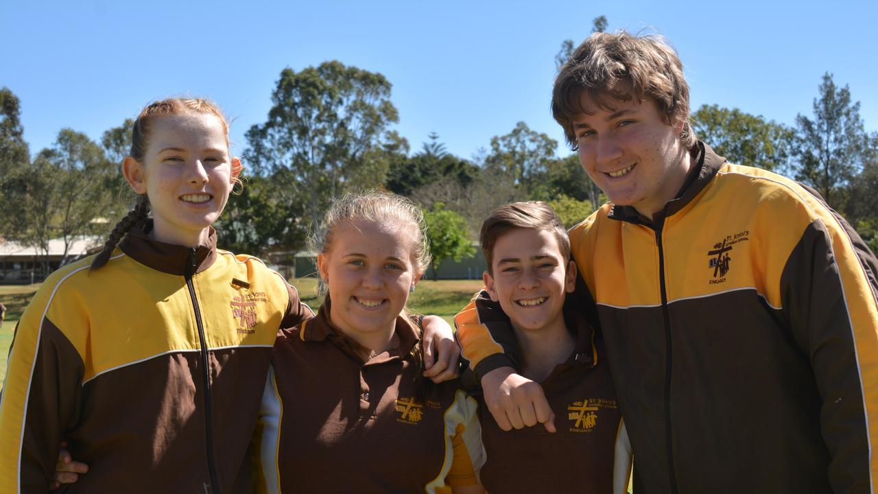 St Johns year nine students: Emma Wilks, Chloe Black, Hugh Wyvill, and Isaac Jones. Photo: Madeline Grace