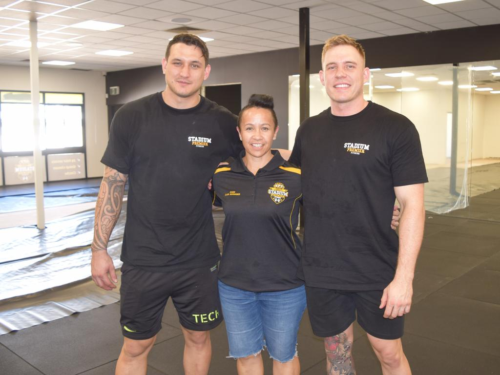 Stadium Premier Fitness owners Travis Stolk and Whetu Austin with manager Cass Pickard (middle).