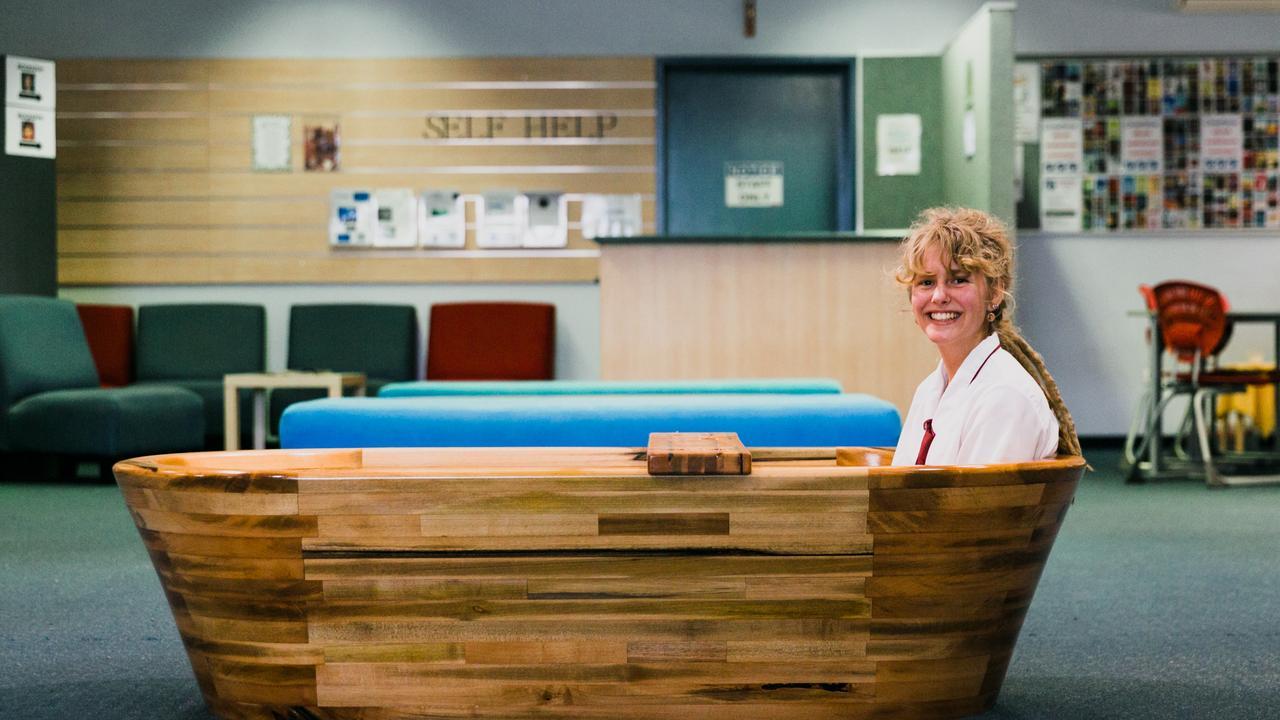 Former McCauley Catholic College student Katelyn McDonald, 18, undertook a massive task - making a bathtub for her HSC woodwork piece.