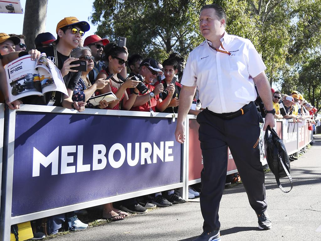 Zak Brown, CEO of McLaren, arrives at the track for the Australian Formula One Grand Prix in Melbourne. Picture: AP