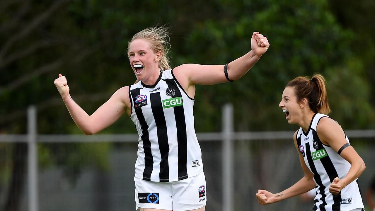 Sarah D'Arcy celebrates a goal with Steph Chiocci. Picture: AAP Image/Dan Peled