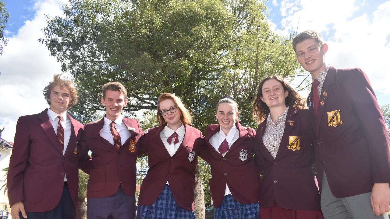 Lions Youth of the Year finalists Johannes Dickman and Lachlan Ries (Chinchilla), Kaitlin Radford and Hannah Coffey (Roma), Grace Butters and Karsten Duval (Dalby).