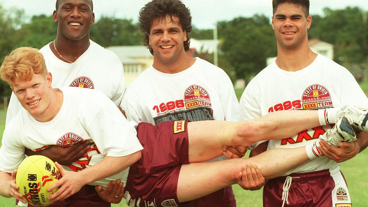 With former Origin teammates Wendell Sailor, Steve Renouf and Matt Sing.