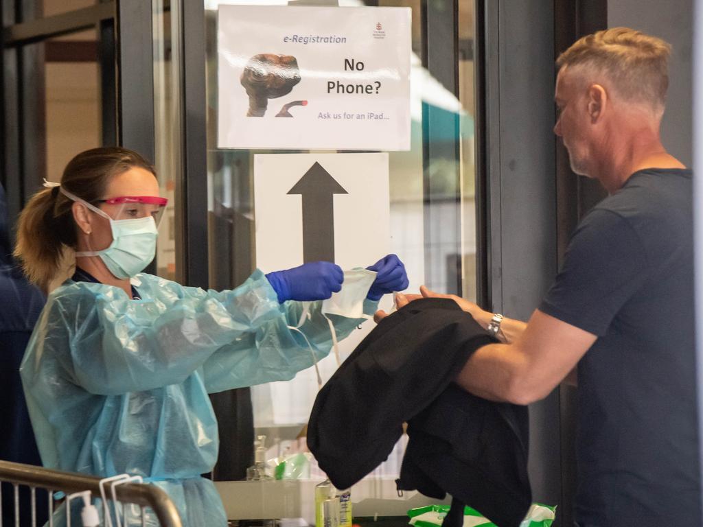 Coronavirus precuations being taken at Royal Melbourne Hospital. Picture: Jason Edwards