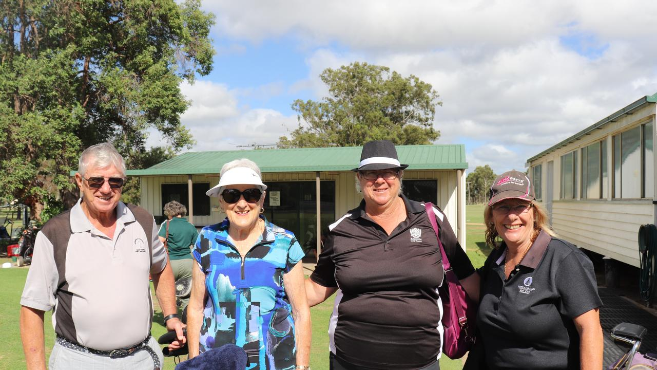Helen Todd, Venessa Hansen and Robyn Aird at the Irish 4 Ball at the Kingaroy Golf Club. (Picture: Contributed)