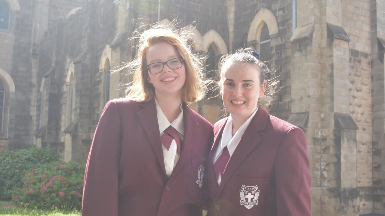 Kaitlin Radford and Hannah Coffey, Lions Youth of the Year finalists from St John's Roma.