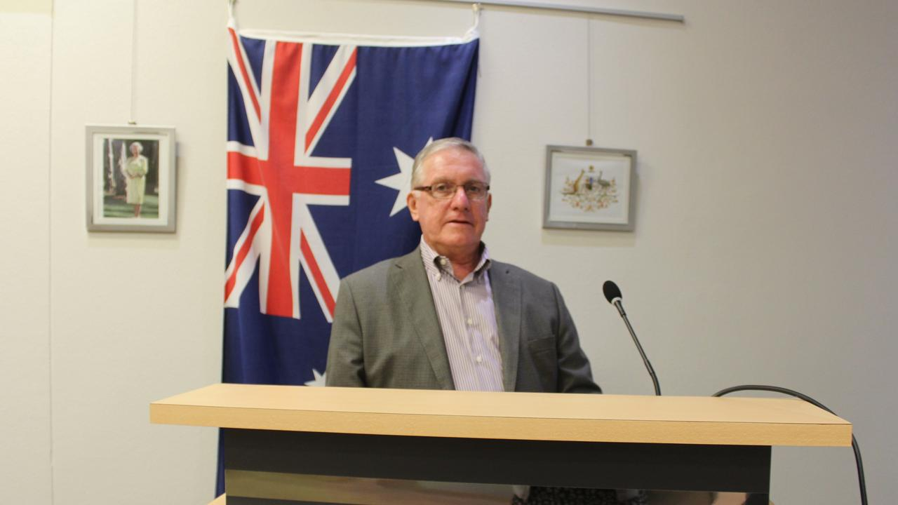 MEDIA RESPONSE: Mayor Keith Campbell delivering a media response after reports of a case of COVID-19 in the South Burnett. Photo: Laura Blackmore