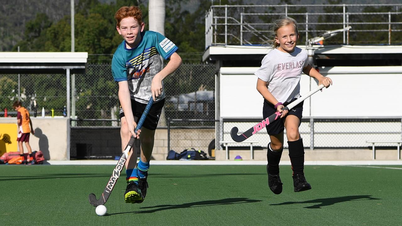RARING TO GO: Wanderers under-12 players Darius Rossow and Sienna Harmsworth are ready for the 2020 Rockhampton Hockey season starting today.   Picture: Jann Houley.