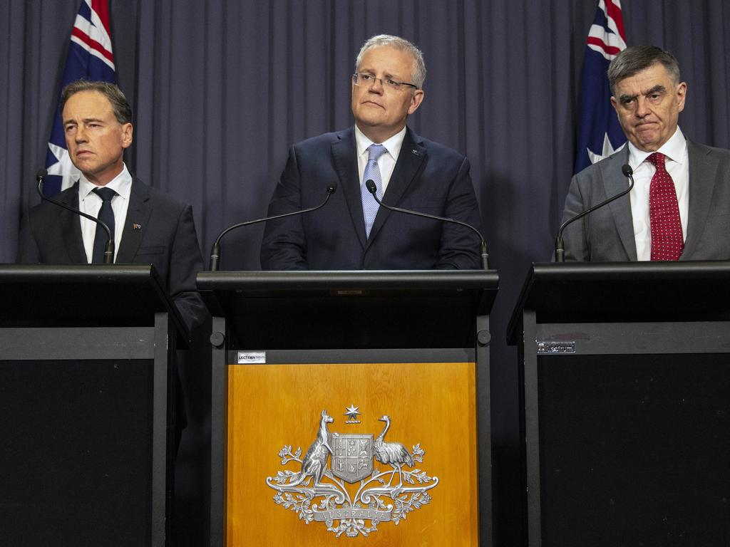 Press Conference with Prime Minister Scott Morrison and the Minister for Health Greg Hunt and Australian Government Chief Medical Officer Brendan Murphy. Picture: Gary Ramage